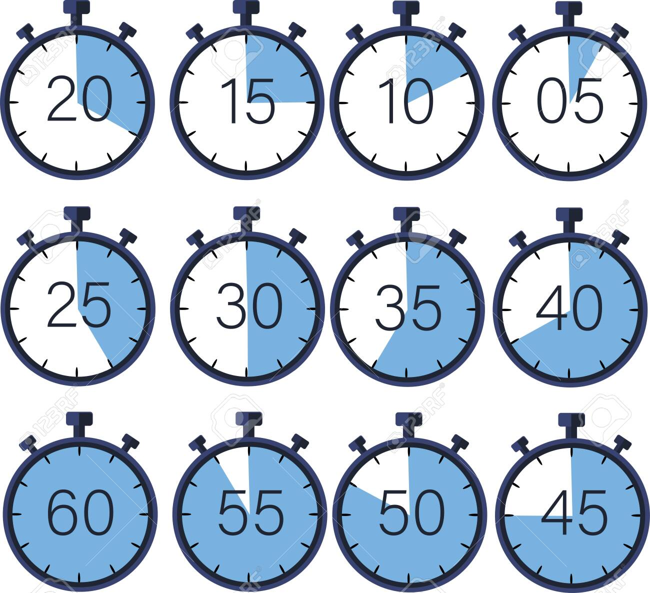 Manual stopwatch-chronograph, measurement in seconds. Ability to measure and calculate the time to reach the goal. Timer with a countdown 60,55,50,45,30,25,20,15,10,5 Vector image. - 155185259