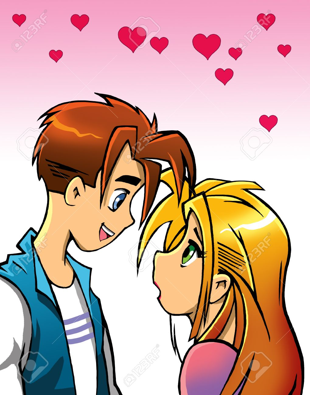 romantic cartoon couple looking at each other stock photo picture