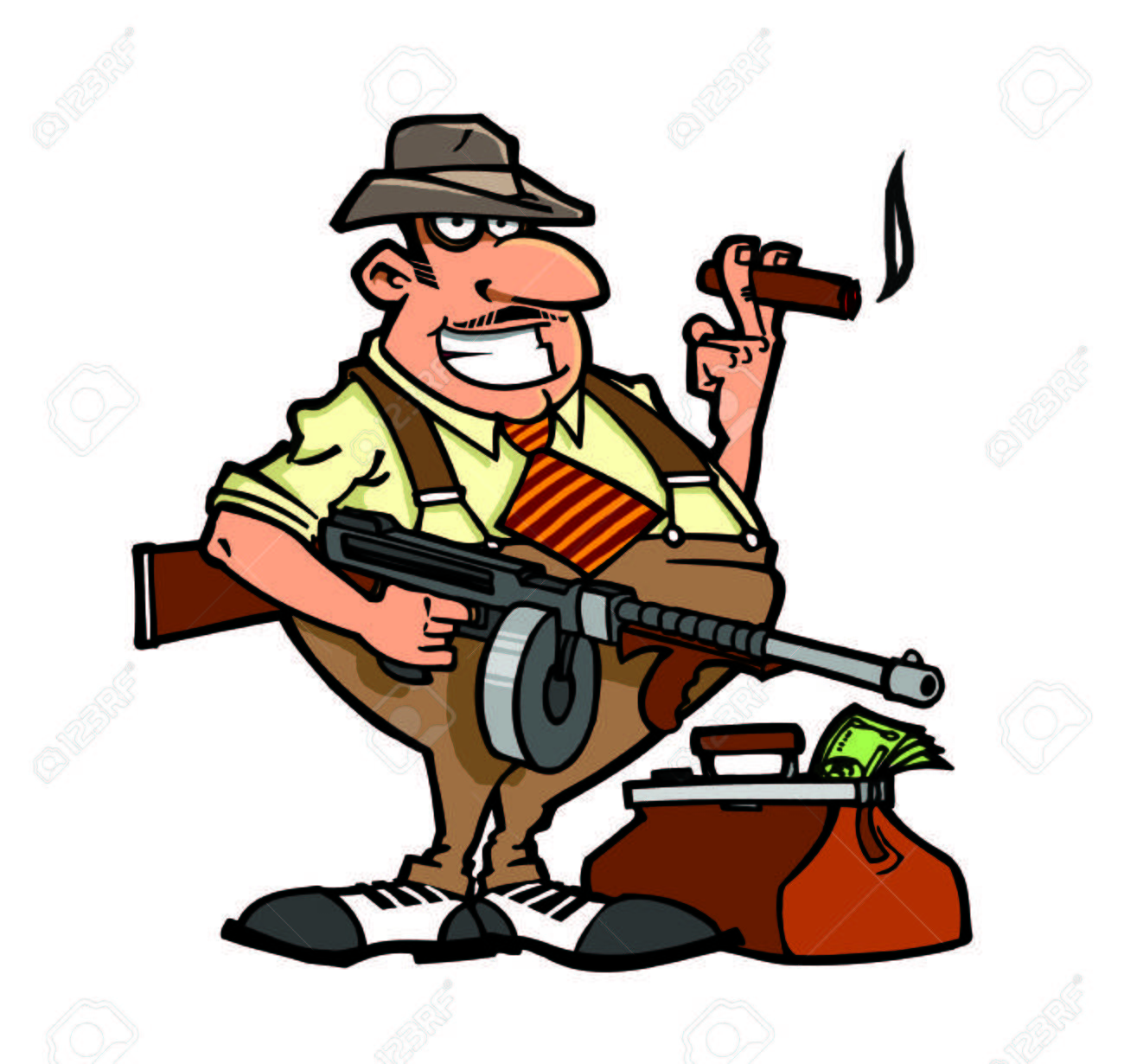Chicago Gangster With Thompson Machine Gun And Money Bag Stock Photo