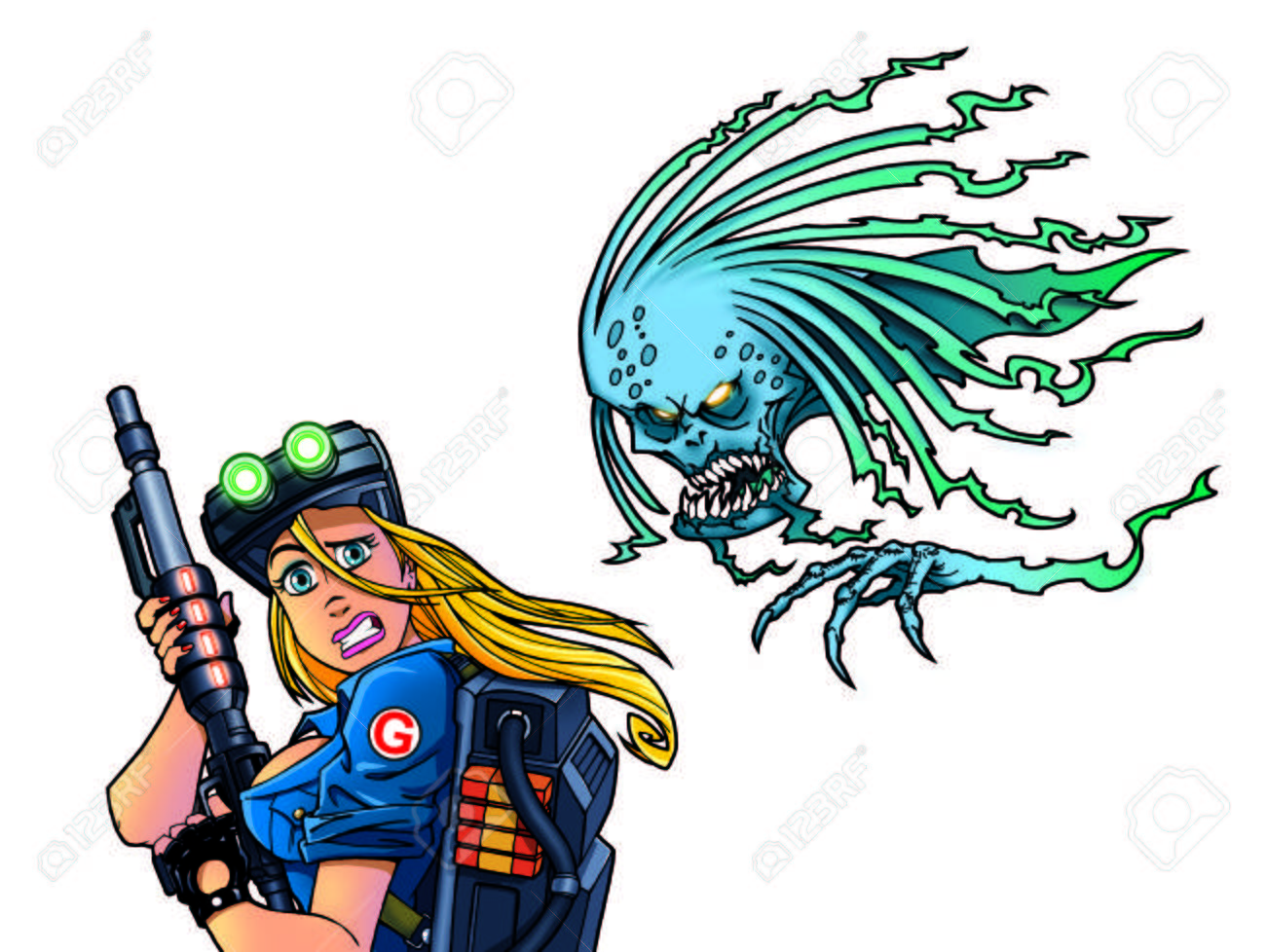 sexy woman soldier with futuristic gun and scary ghost Stock Photo - 24355526