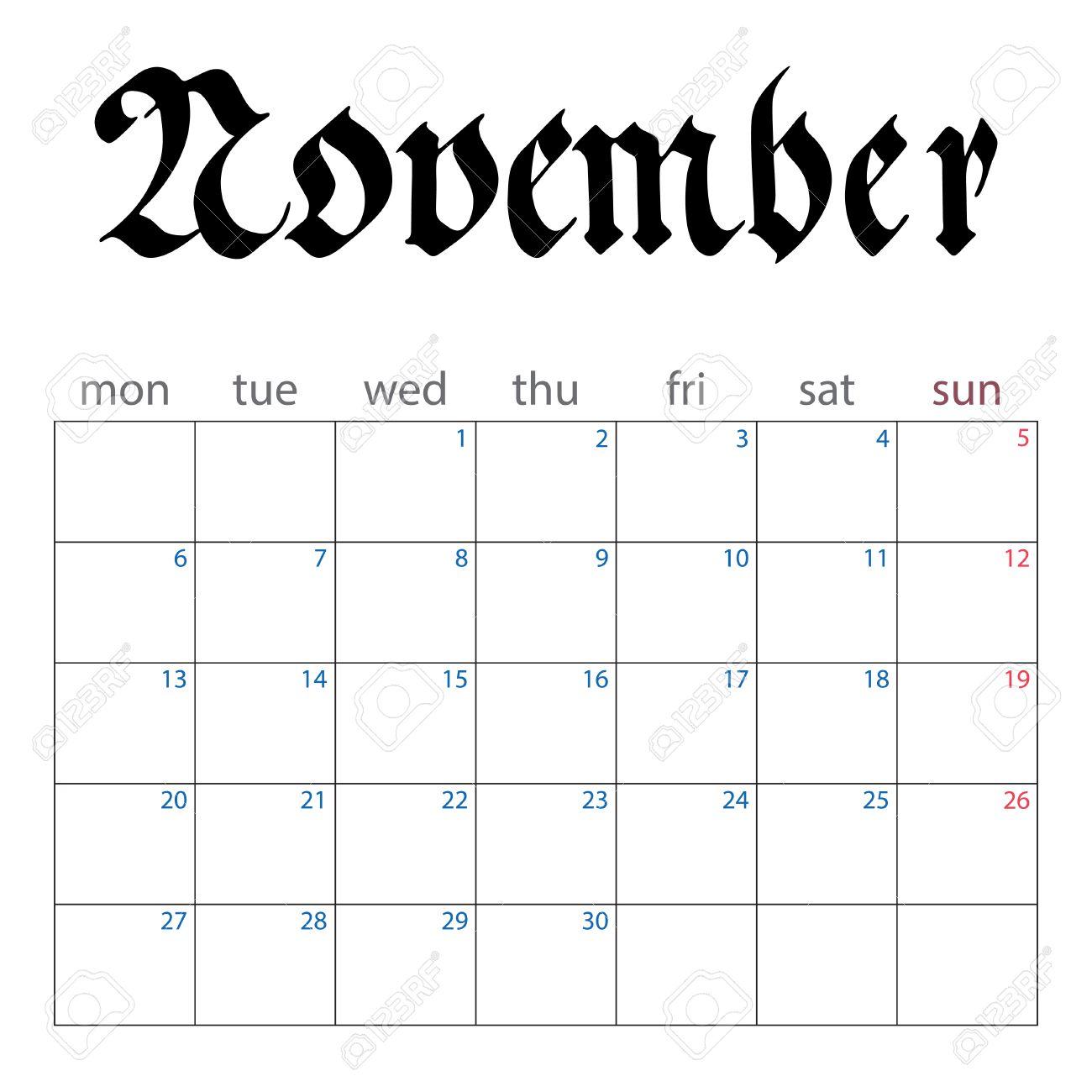 Calendar Planner For November 2017. Handwritten Name Of Month ...