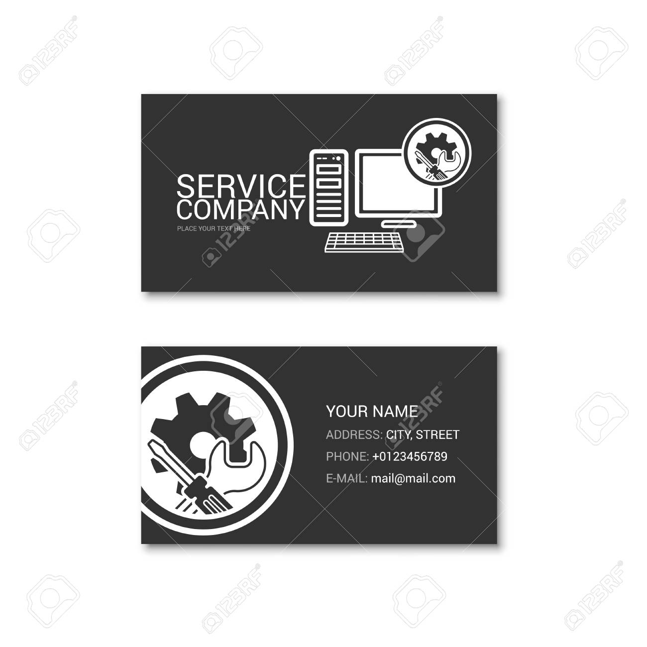 Simple business card of computer repair shop technical service simple business card of computer repair shop technical service vector illustration isolated on a colourmoves