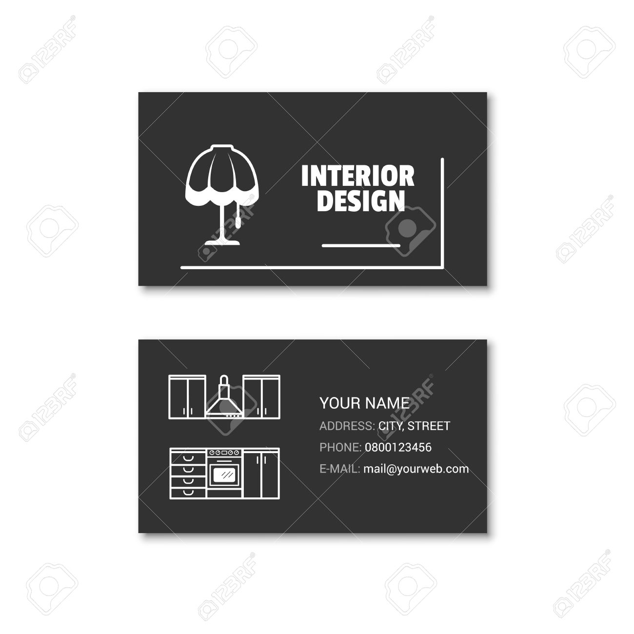 Simple Business Card Of Interior Designer Vector Illustration Isolated On A White Background Stock