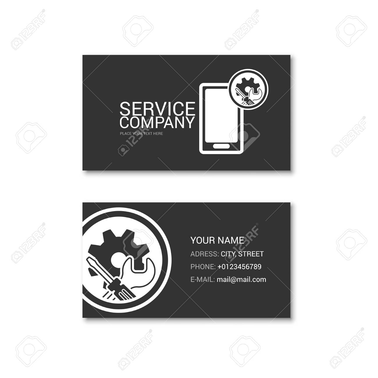 Simple Business Card Of Cell Phone Repair Shop Technical Service