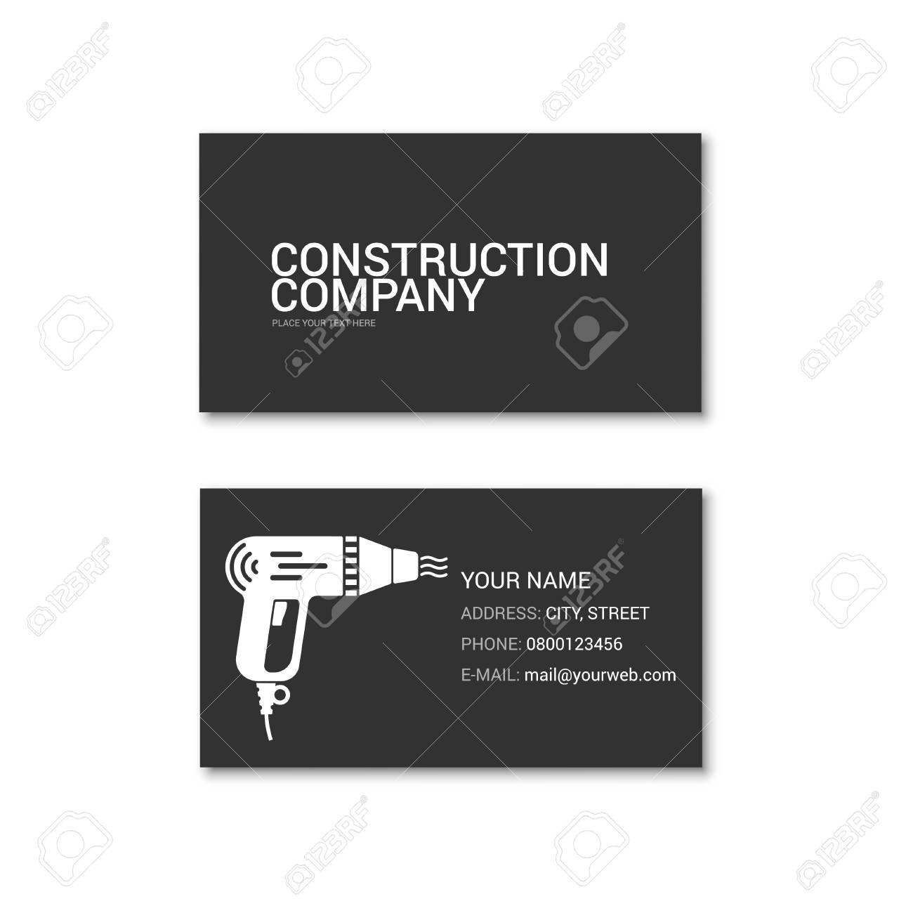 Simple Business Card Of Construction Company. Technical Support ...