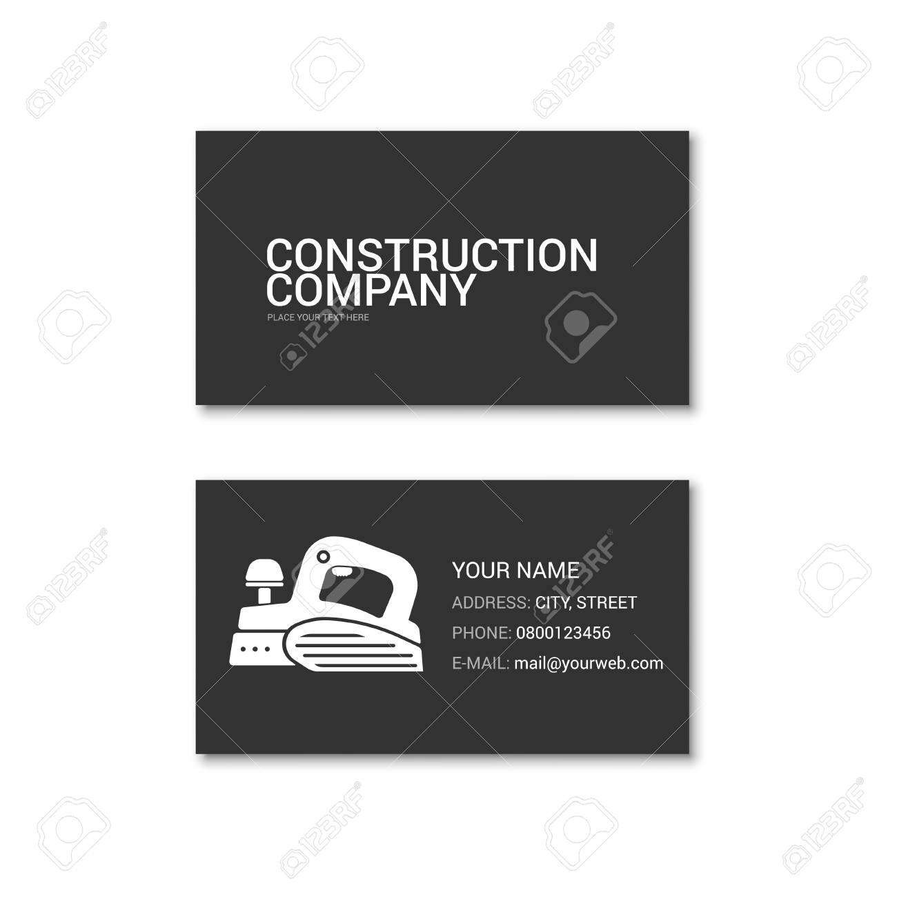 Simple business card of construction company. Technical support. Vector illustration isolated on a white background. - 79469385