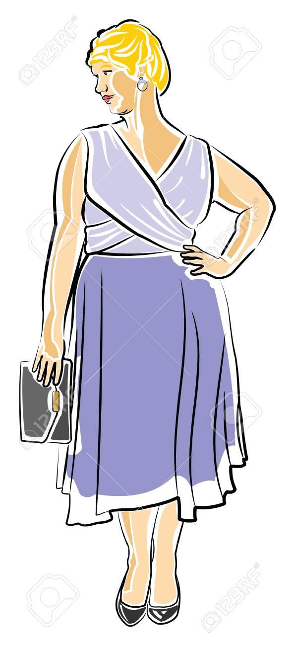 Mujer Rubia De Pelo Corto En Un Vestido De Cóctel Ilustraciones ...