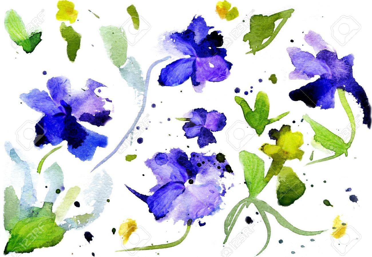 Watercolor blue flowers on a white background stock photo picture watercolor blue flowers on a white background stock photo 15812518 dhlflorist Gallery