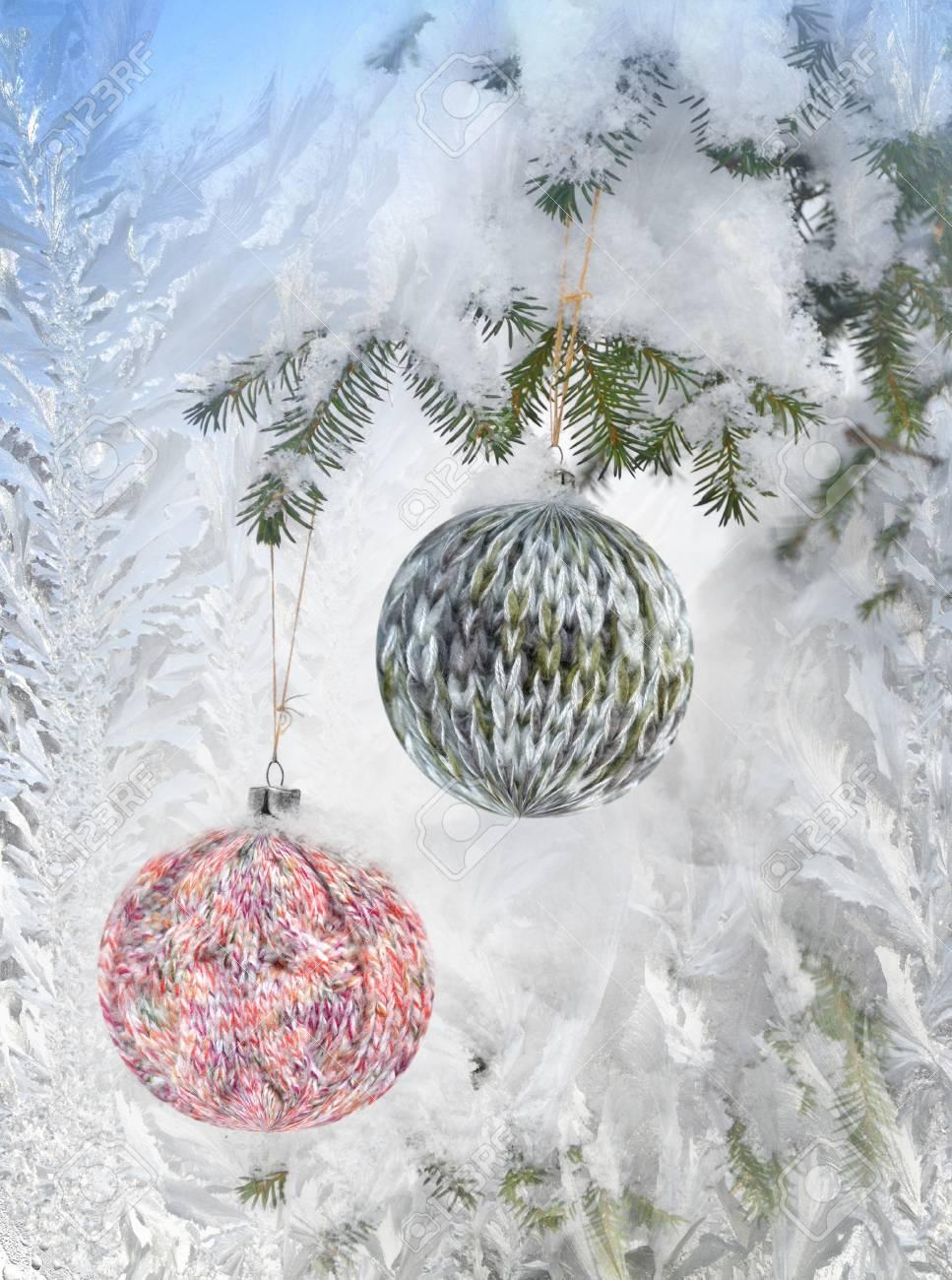 Fondo De La Navidad Con El Patrón De Punto Frosty Bola En Un ...