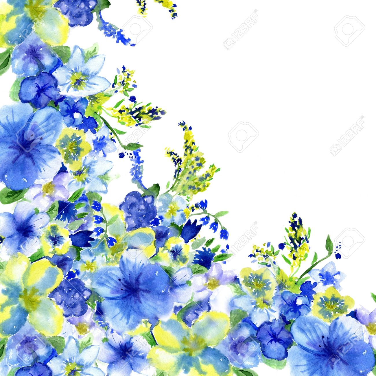 Watercolor dark blue and yellow flowers on a white background stock stock photo watercolor dark blue and yellow flowers on a white background mightylinksfo