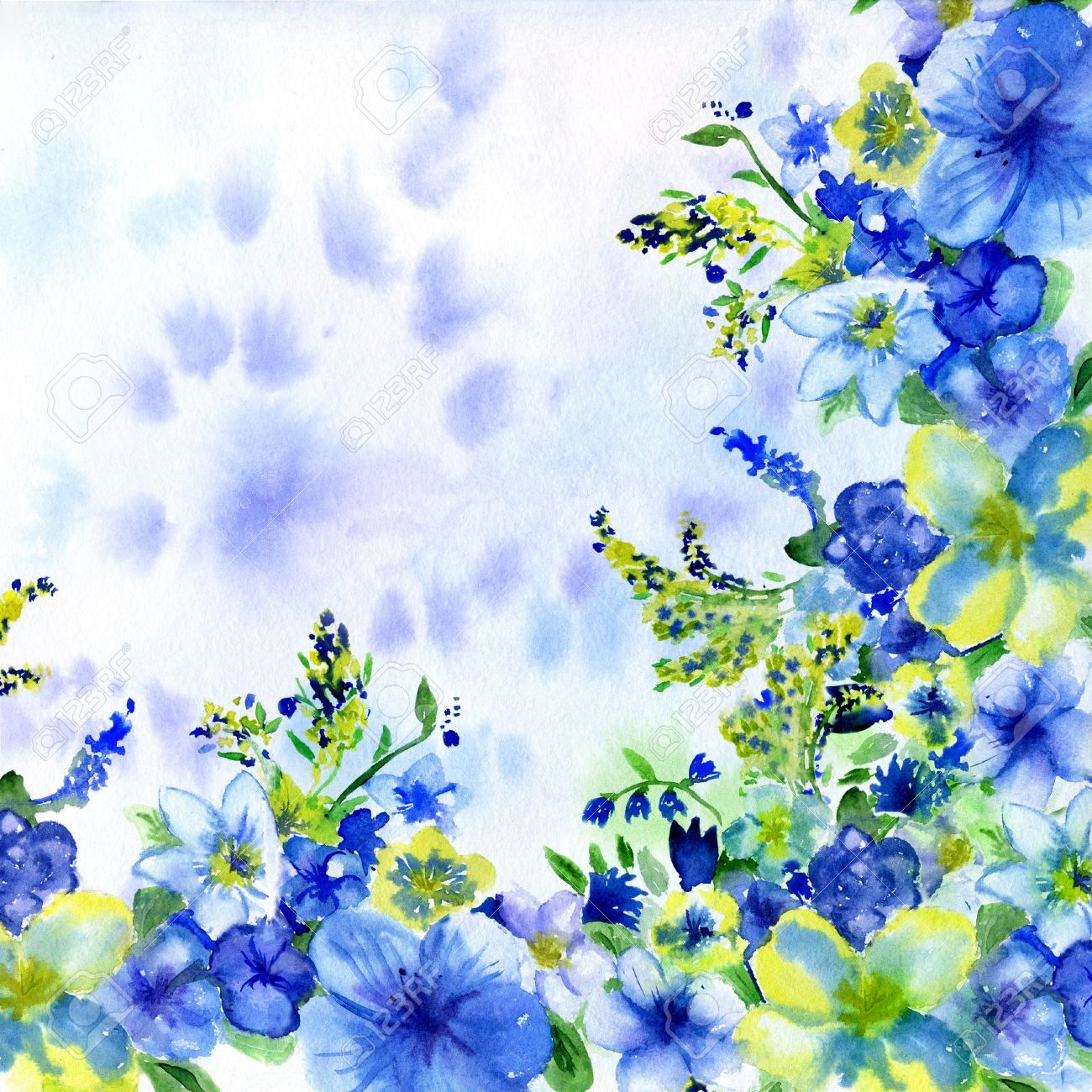 Watercolor Dark Blue And Yellow Flowers On A White Background Stock