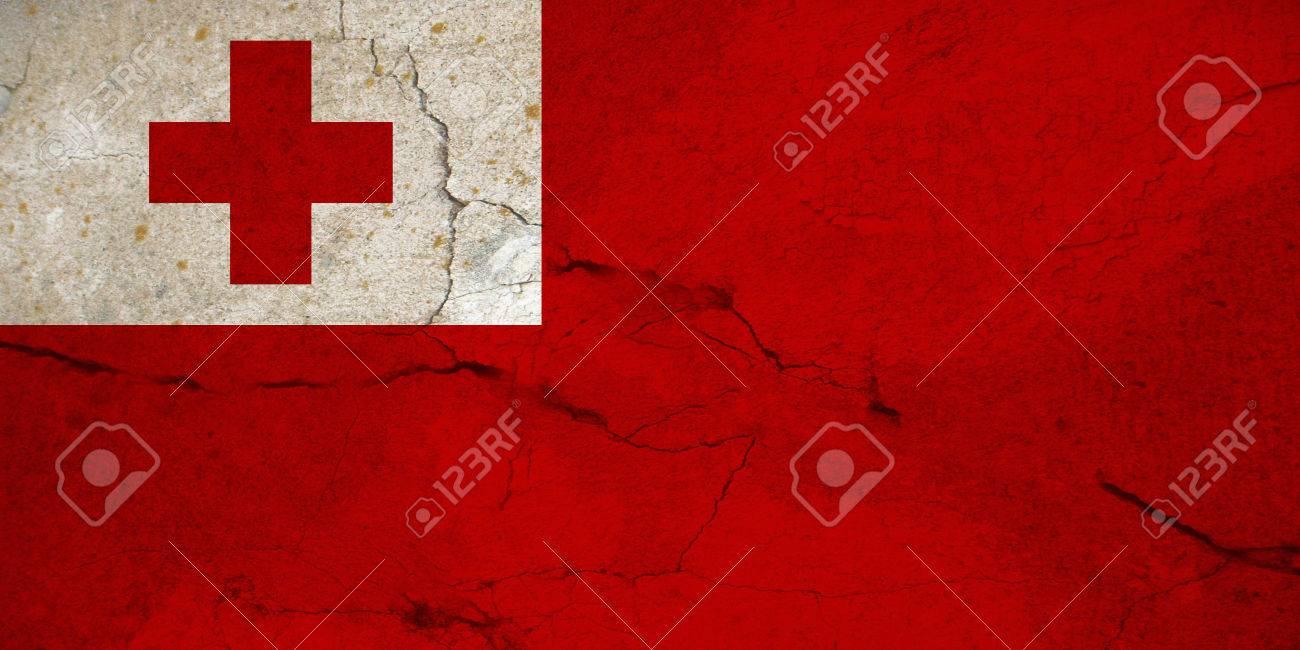 La Bandiera Di Tonga è Costituita Da Un Campo Rosso Con Un Cantone Bianco Carico Di Una Croce Rossa Colata Adottata Nel 1875 Dopo Essere Stato