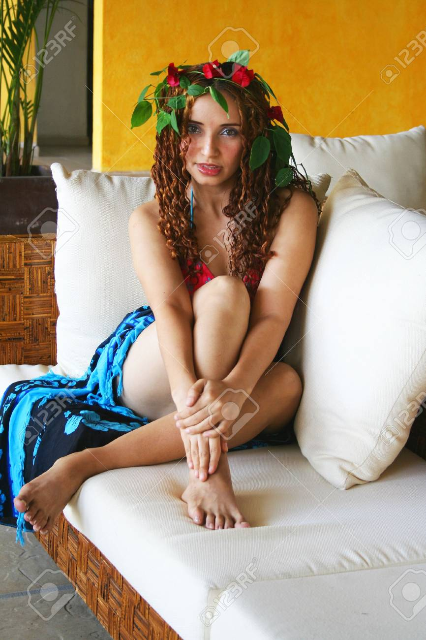 Beautiful young model on couch Stock Photo - 2160381