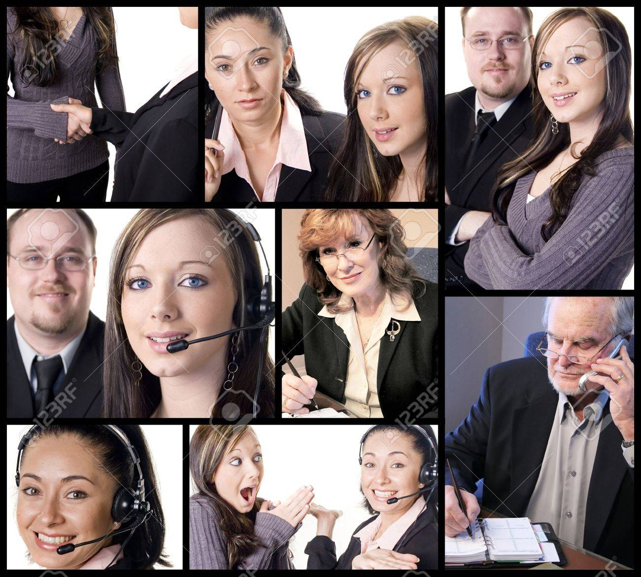 business themed collage with several office and work situations stock photo 3260383