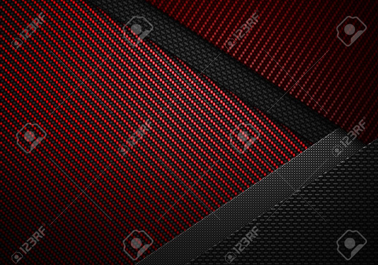 Abstract Modern Red Black Carbon Fiber Textured Material Design For Background Wallpaper Graphic