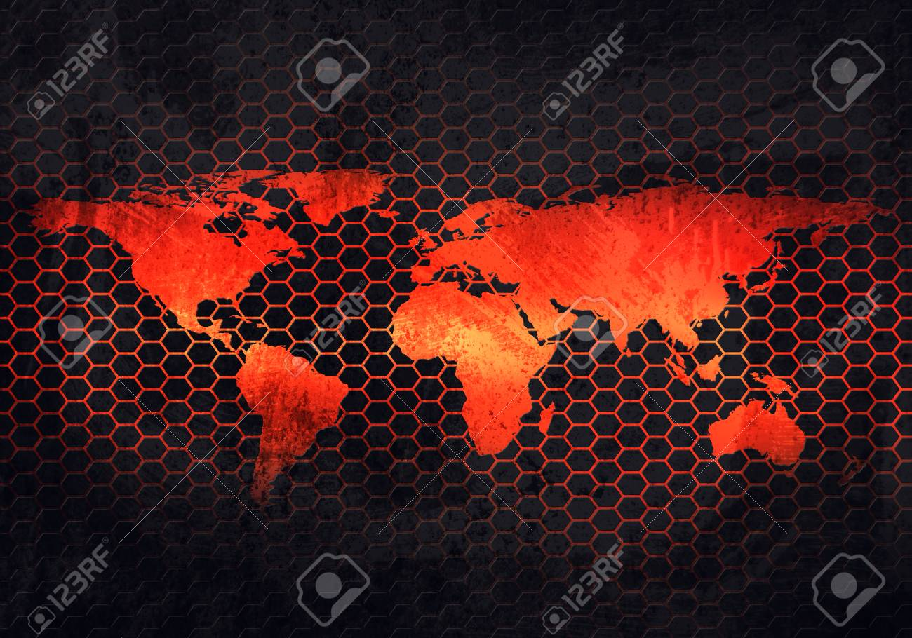 abstract modern grey rusty metal plate with embossed world map material design in hexagonal perforated background
