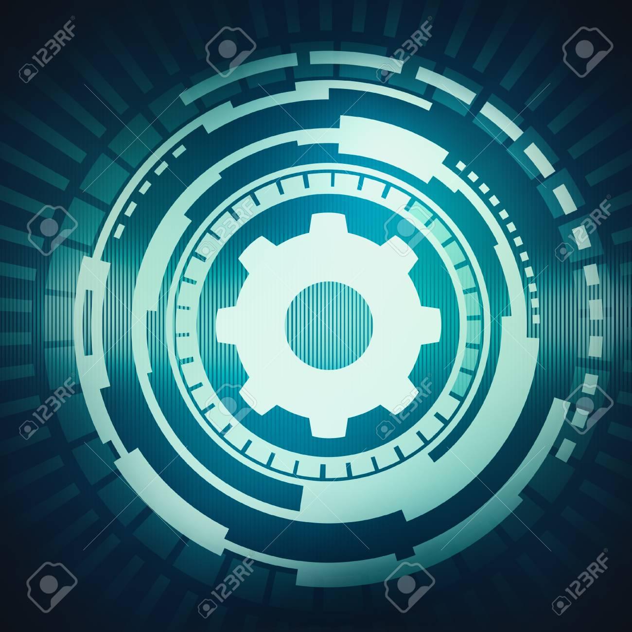 抽象的なデジタル概念タッチ画面円インターフェイス回路テクノ背景に