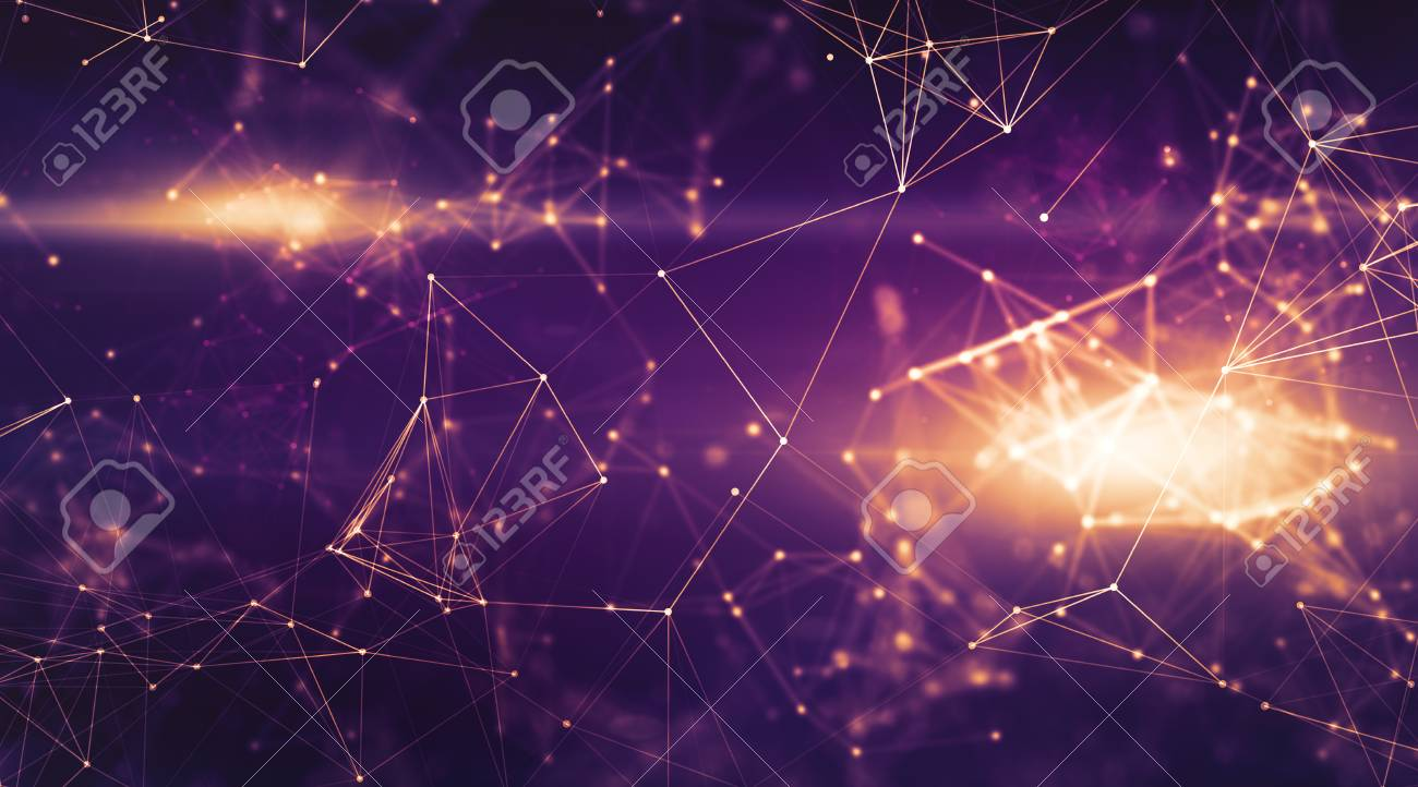Abstract Doted Dark Purple Space Background Connecting Dots And Lines Illustration For Branding