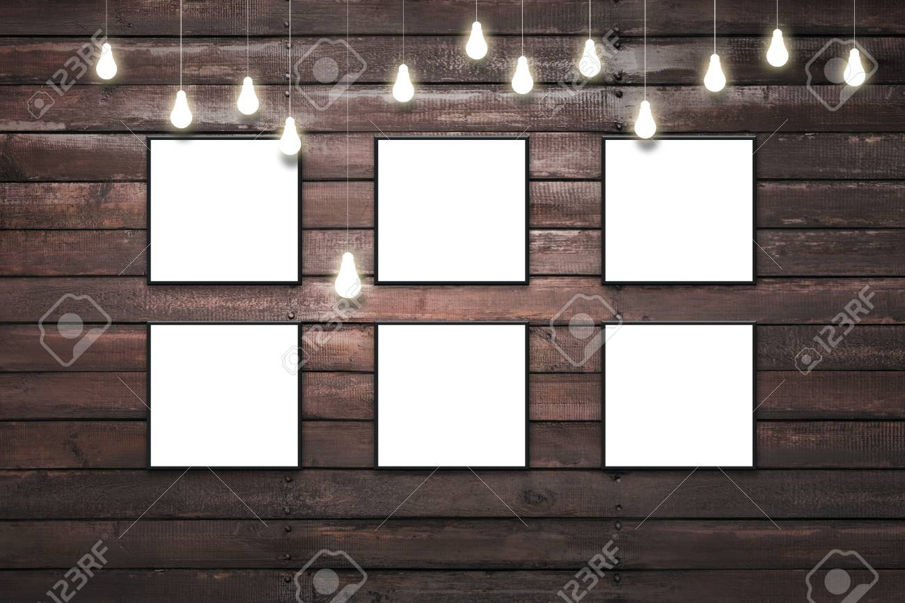 Rustic Wooden Plank Wall With Isolated White Posters In Black ...