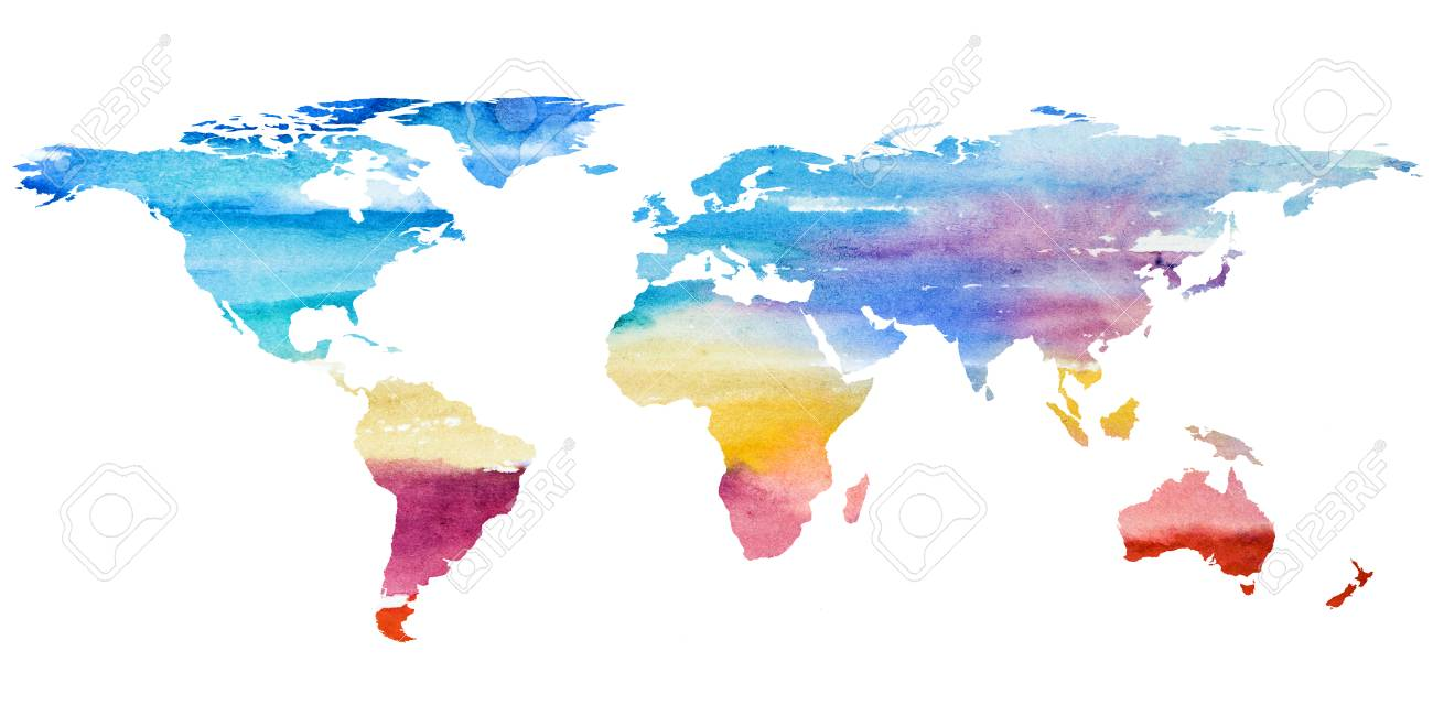 2d Hand Drawn Illustration Of World Map Color Gradiented Watercolor
