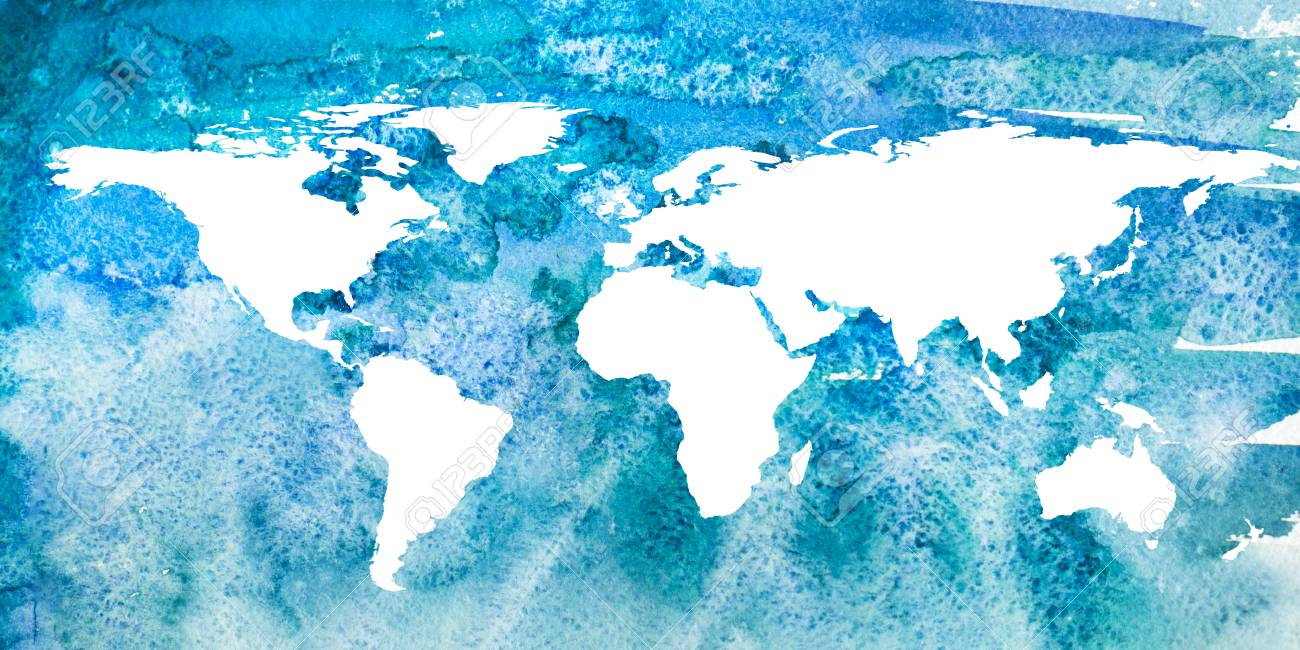 2d Hand Drawn Illustration Of World Map Turquoise Blue Watercolor