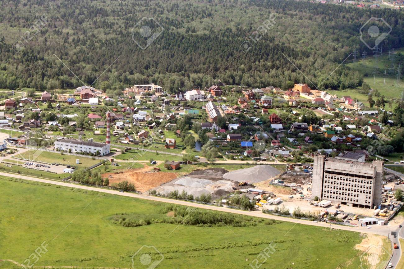 Aerial view of town with buildings and roads Stock Photo - 14597469