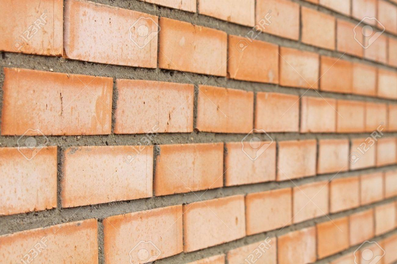 Just A Red Brick Wall Side View Stock Photo