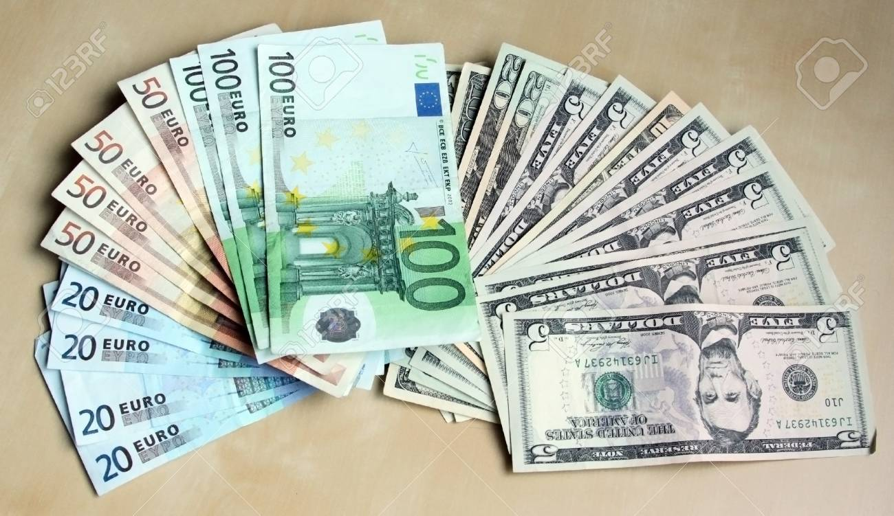 Two leading hard currencies - US Dollar and Euro Stock Photo - 15501305