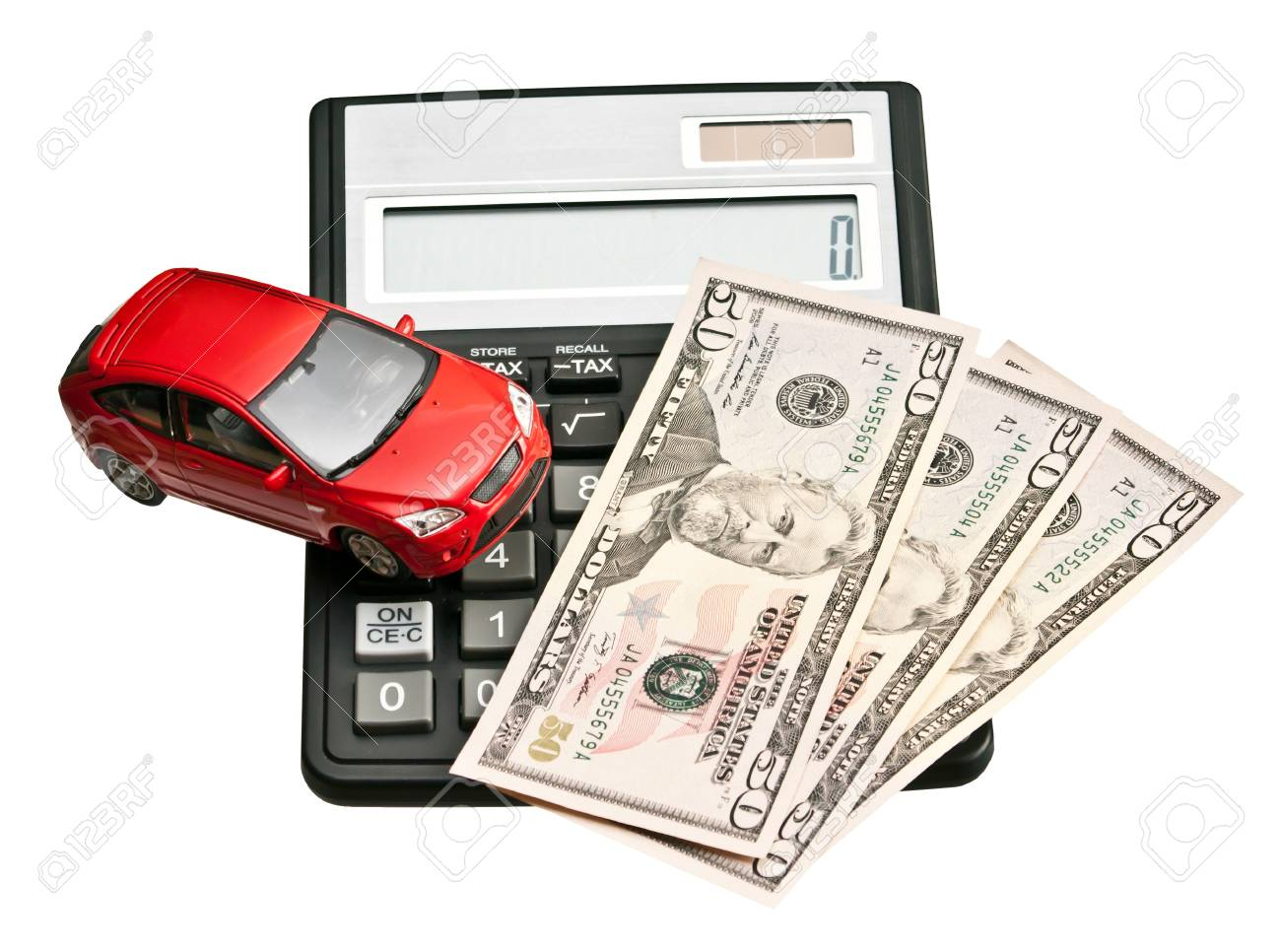 Toy car and calculator  Concept for buying, renting, insurance, fuel, service and repair costs Stock Photo - 20405582