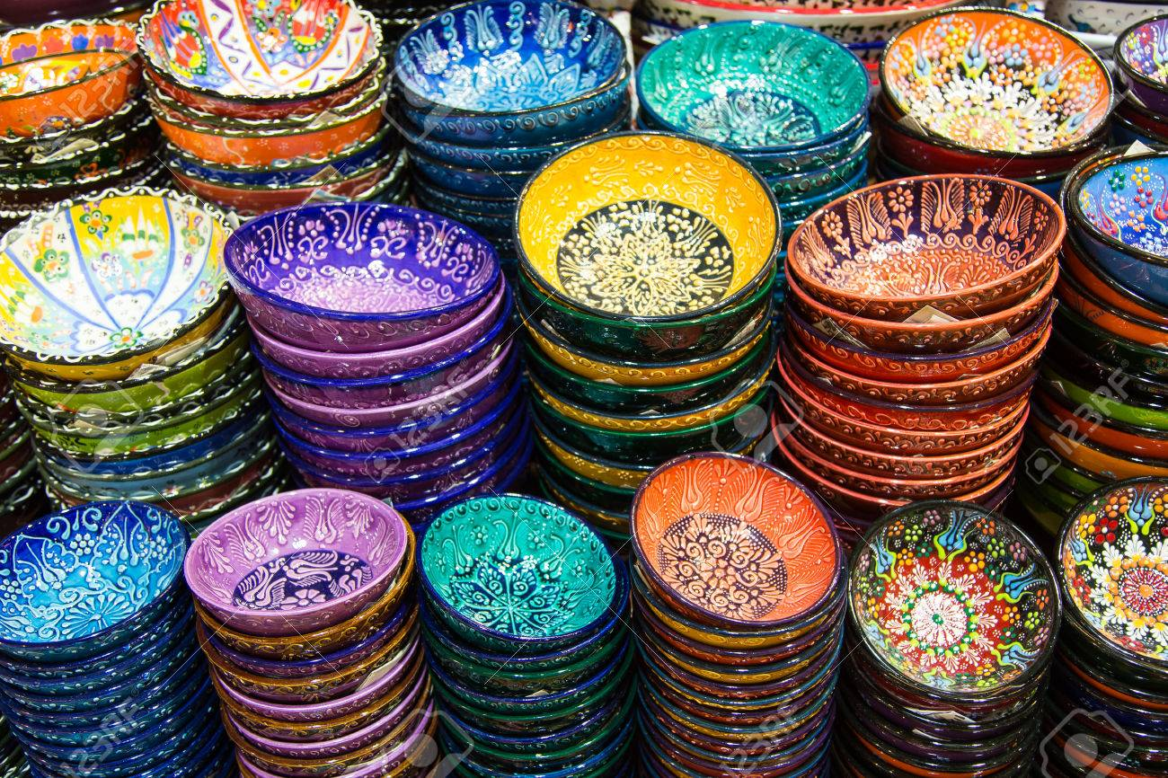 Stock Photo - Turkish Ceramic Plates in Spice Bazaar Istanbul City Turkey & Turkish Ceramic Plates In Spice Bazaar Istanbul City Turkey Stock ...