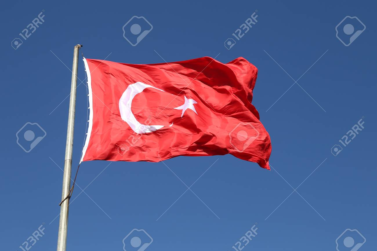 Red And White Turkish Flag With Moon And Star