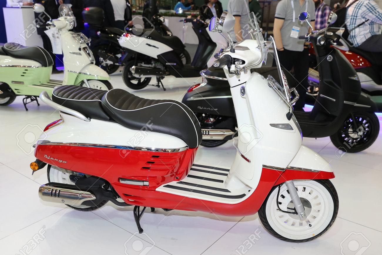 Istanbul, Turquie - 25 février 2017: Peugeot Django exposée au salon  Motobike Istanbul à Istanbul