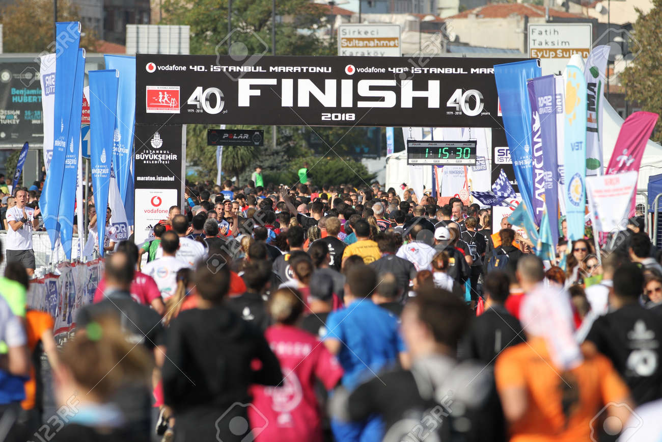 ISTANBUL, TURKEY - NOVEMBER 11, 2018: Athletes running in 40. Istanbul marathon which includes two continents in one race. Marathon starts on the Asian side and finishs in European side of Istanbul. - 140659994