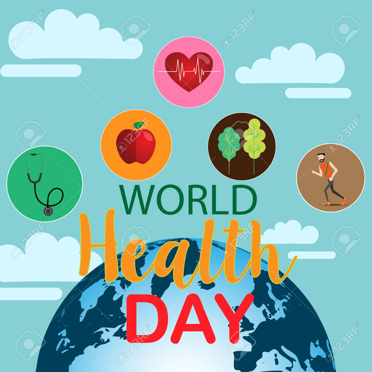 edc3499de716 World health day concept with hand draw lettering and healthy..