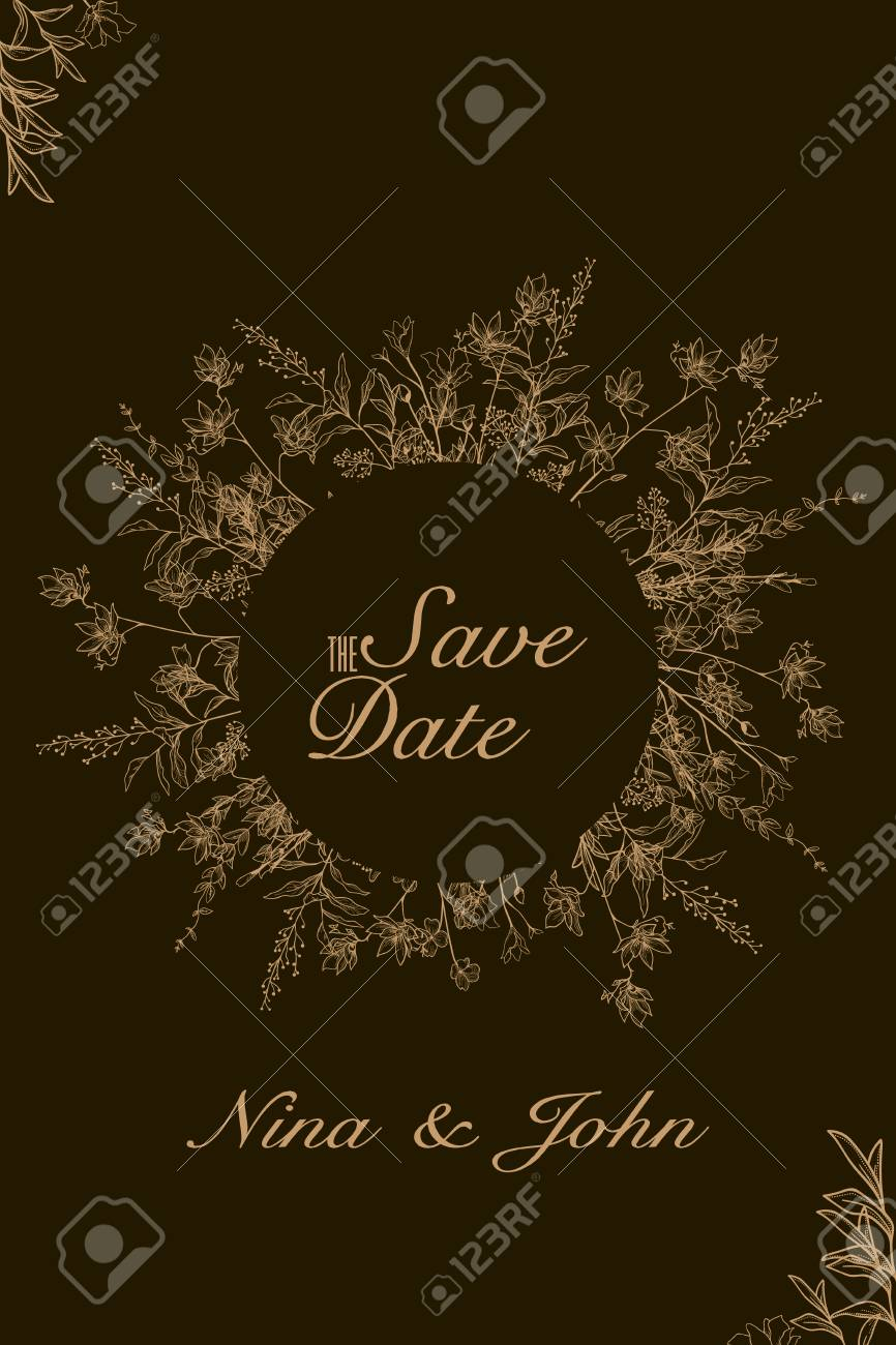 Save The Date Invitation Card Modern Design Template With Elements