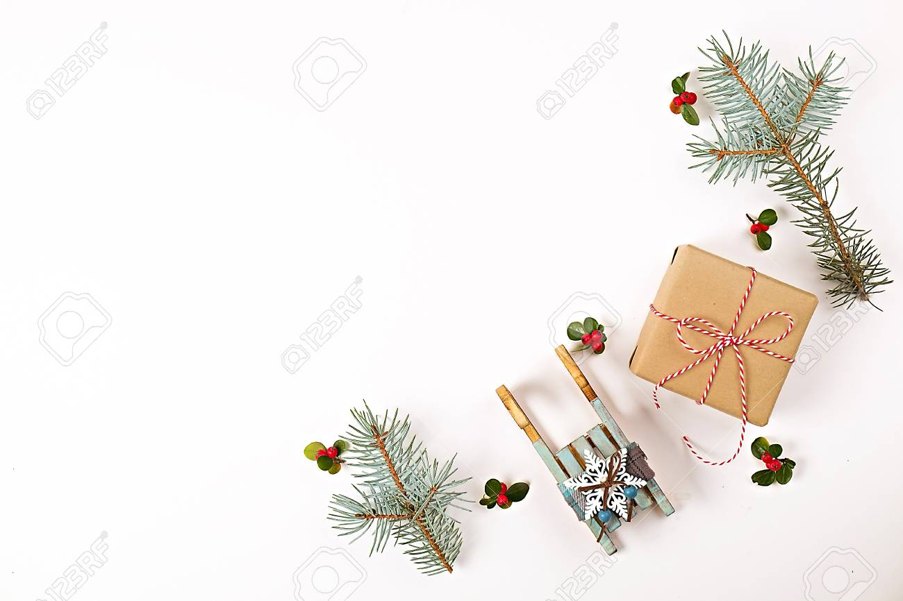 christmas happy new year composition christmas gifts pine branch