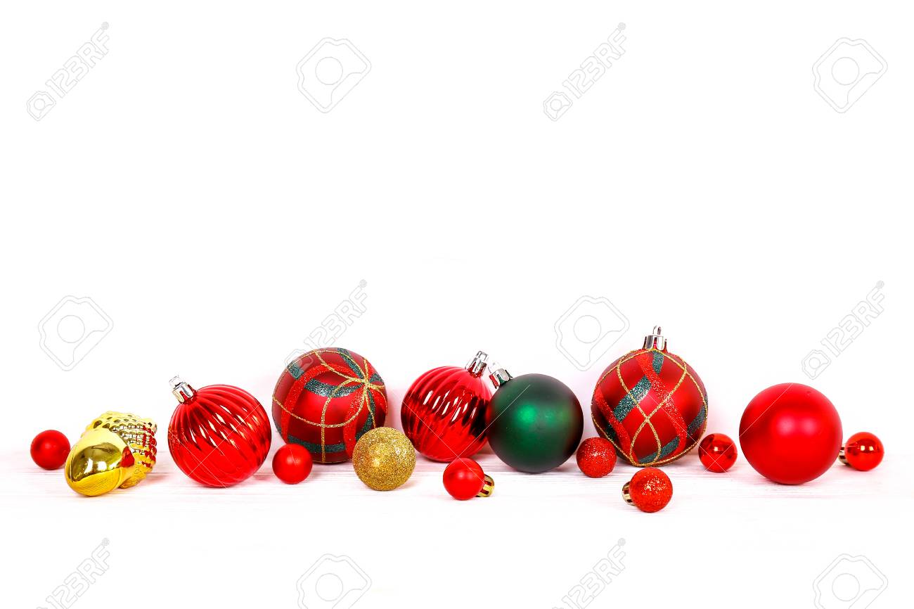 Minimalistic festive composition with colorful matte christmas balls. Fancy beautiful decoration for christmas pine tree. Background, copy space, close up, front view. - 113511060