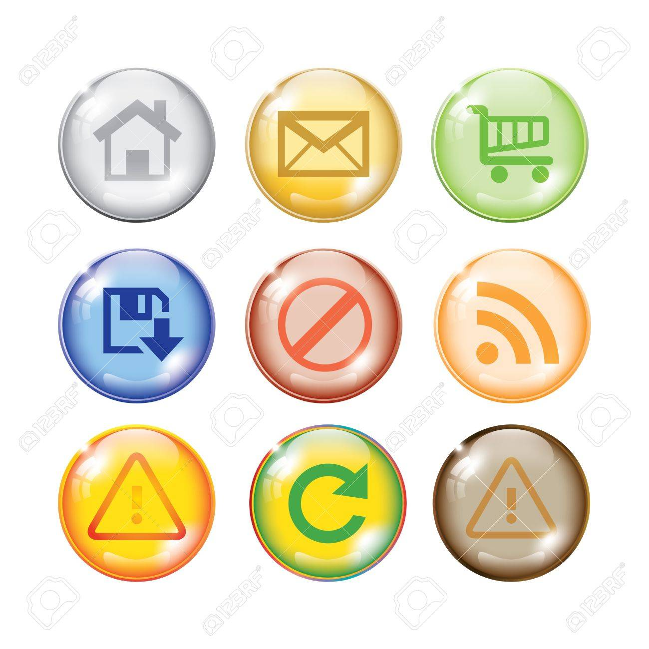 Glossy shiny multi color icon set for web websites Stock Vector - 13487719