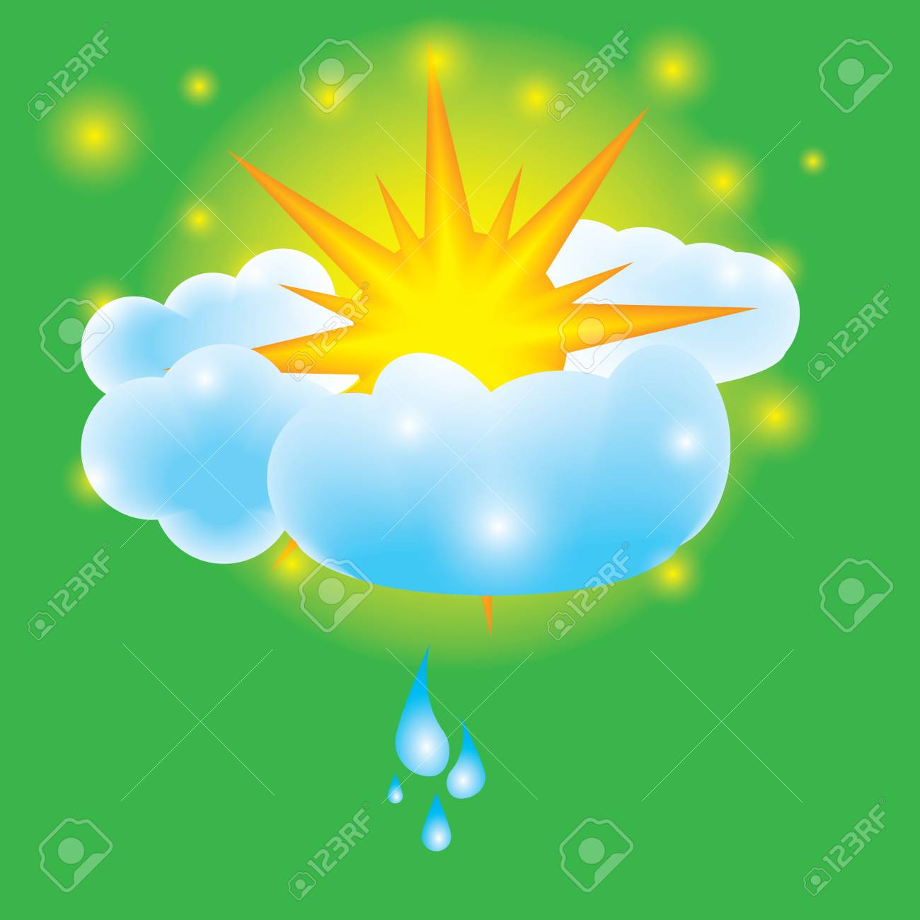 Summer design elements sun clouds and water drops Stock Vector - 13487720