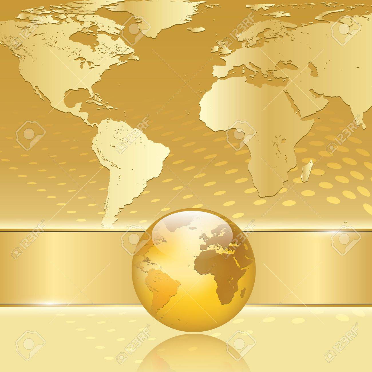 Abstract Gold Business Background With Earth Map Royalty Free