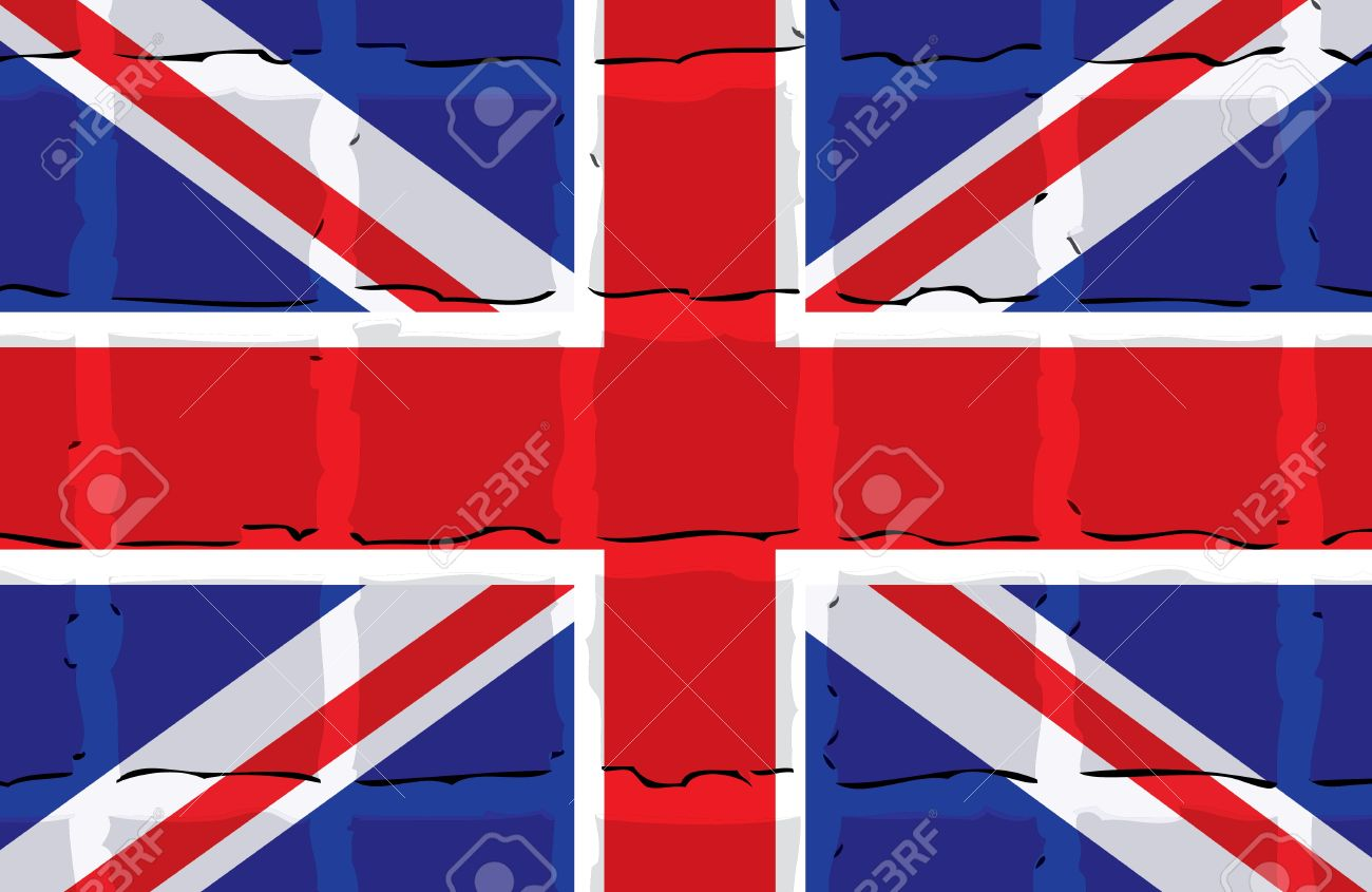 London Flag Background With Transparent Cubes Stock Vector