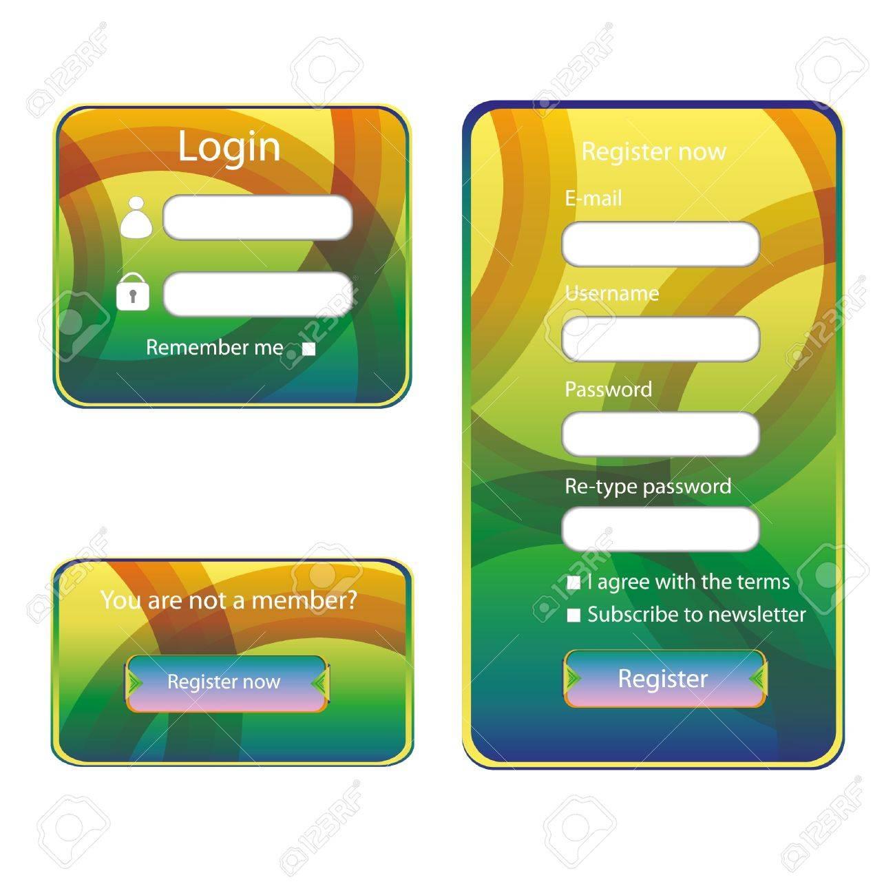Modern web card login form Stock Vector - 14941059
