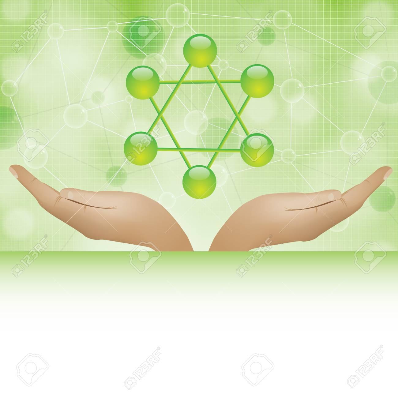 Molecule illustration green background Stock Vector - 16113677