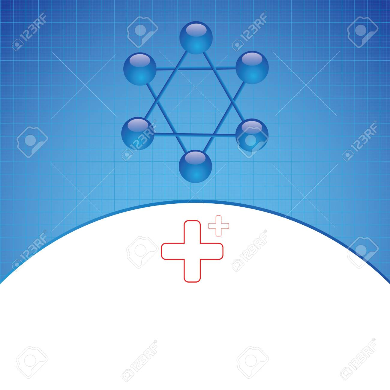 Molecule illustration blue background Stock Vector - 16113686