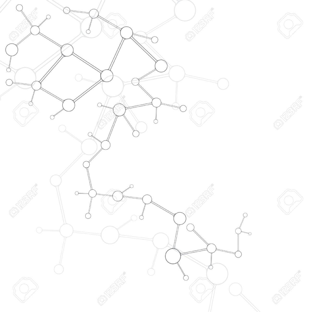 Abstract molecule silver white background - 16540898