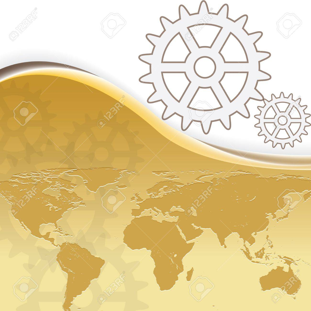 Abstract gold business background with earth map Stock Vector - 17274813