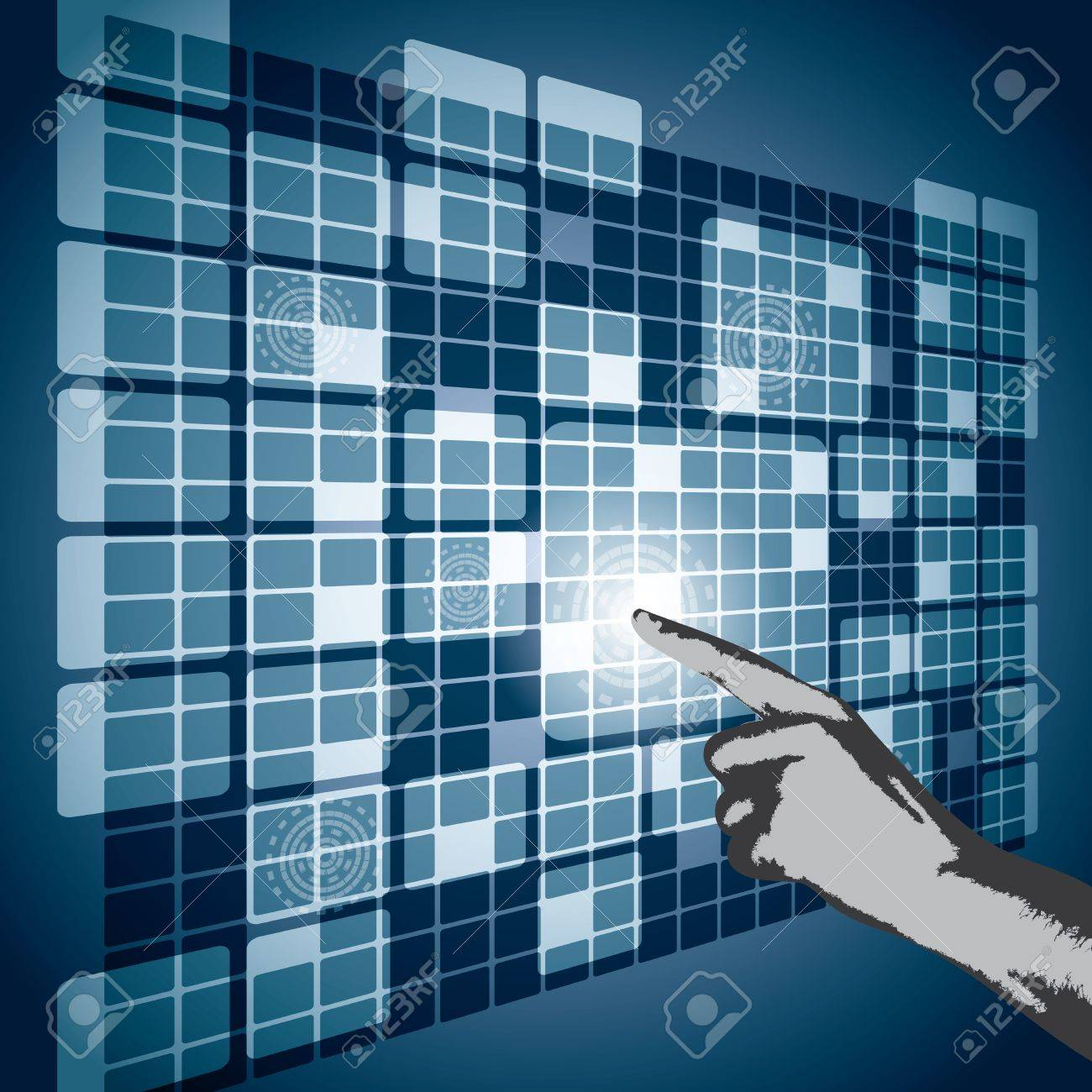 Hand pushing a button on a perspective blue touch screen Stock Vector - 17741187