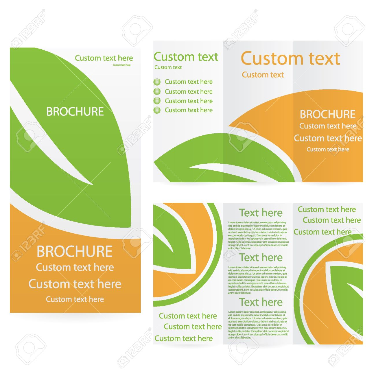 Vector Brochure Layout Design Template Green Orange Environmental - Custom brochure templates