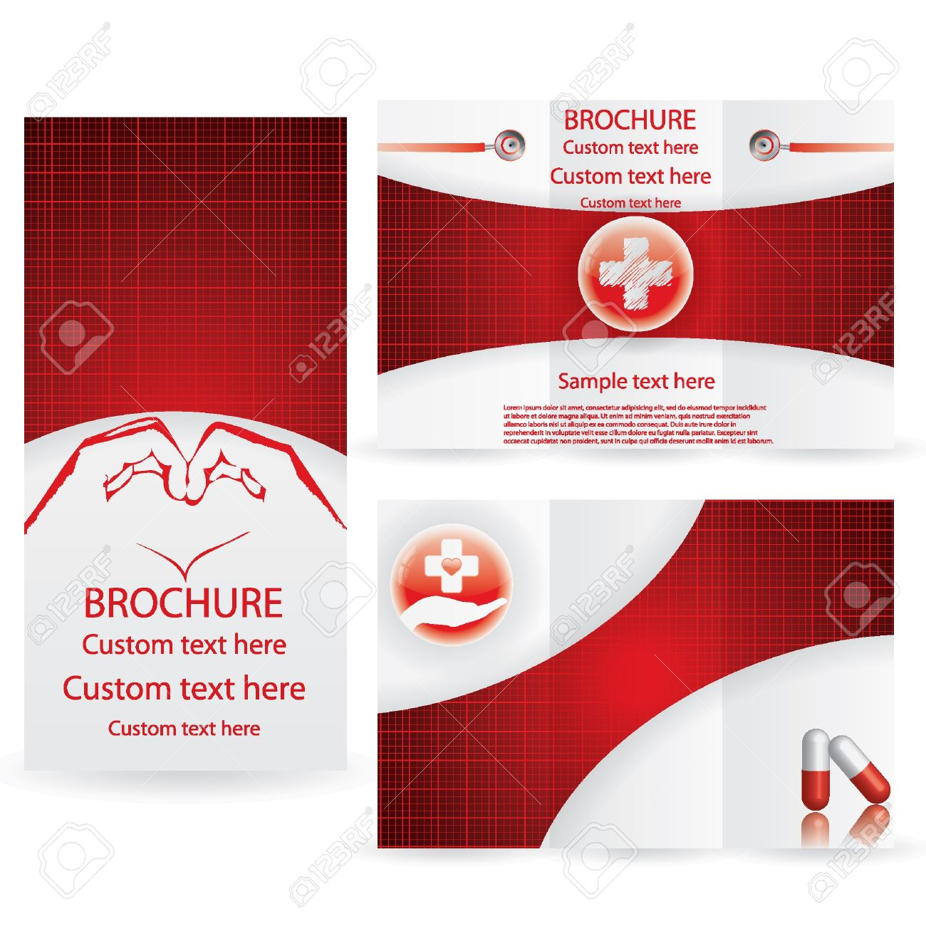 vector brochure layout design template red medical royalty free