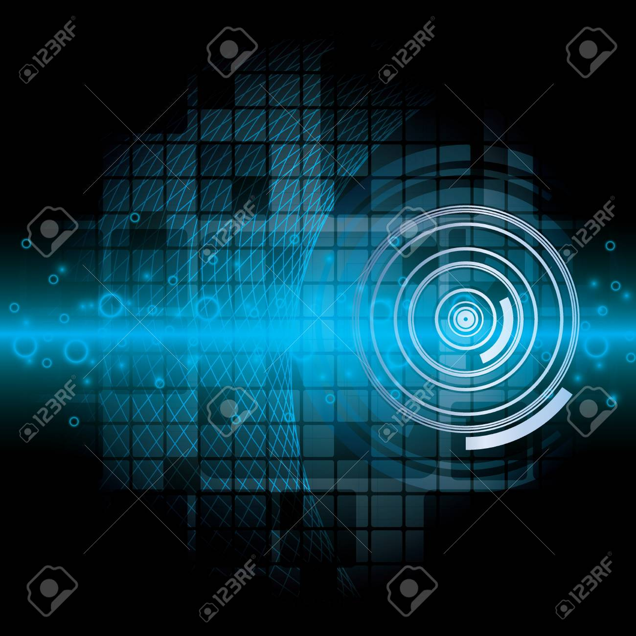 Blue abstract tech background on black background Stock Vector - 19551163